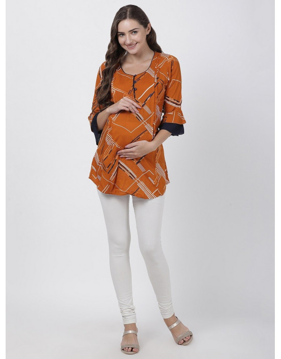 Women Printed Maternity/Feeding Dress Orange