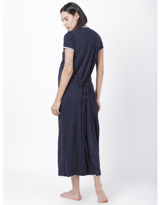 Women Printed Maternity/Feeding Long Dress Navy Blue
