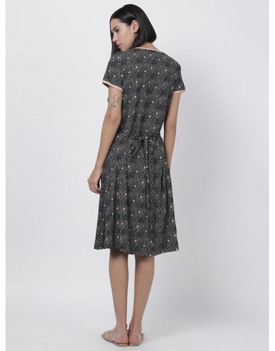 Women Printed Maternity/Feeding Dress Charcoal