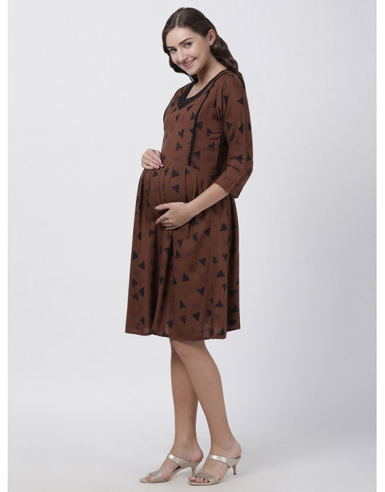 Women Printed Maternity/Feeding Dress Brown