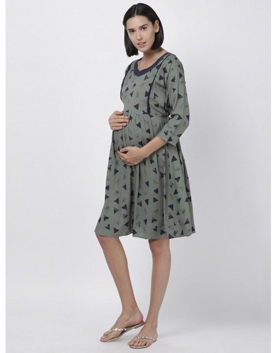 Women Printed Maternity/Feeding Dress Green