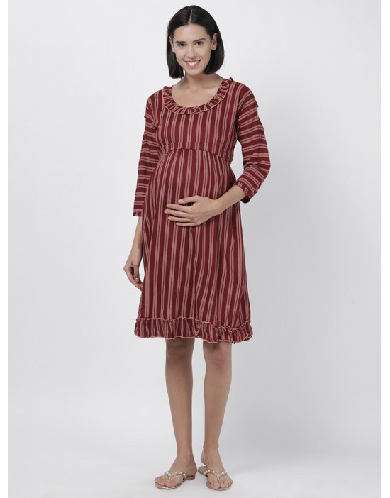 Women Printed Maternity/Feeding Dress Red