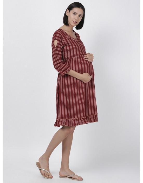 Women Printed Maternity/Feeding Dress Red