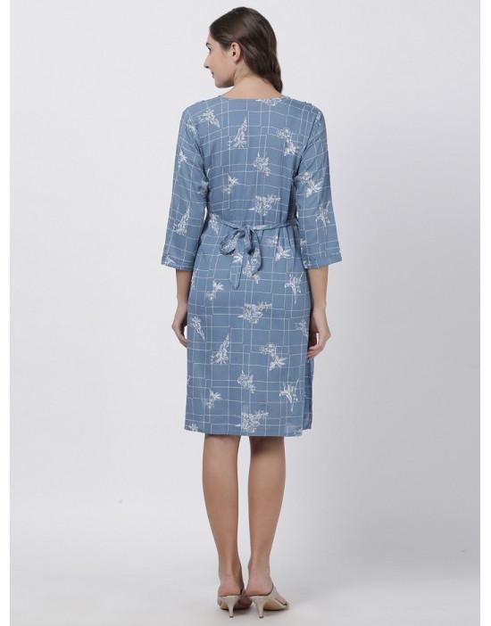 Women Printed Maternity/Feeding Dress Blue
