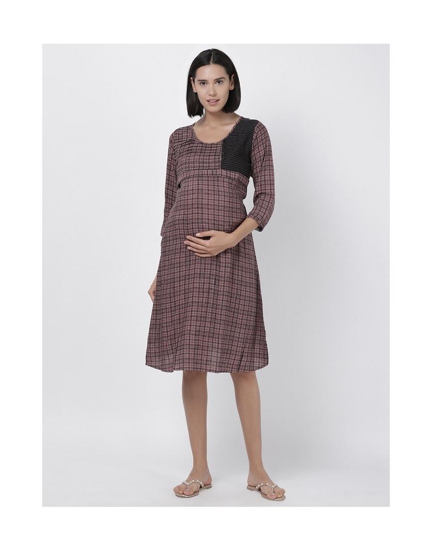 Women Printed Maternity/Feeding Dress Grey