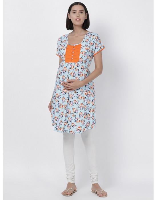 Women Floral Print Maternity/Feeding Kurti Blue