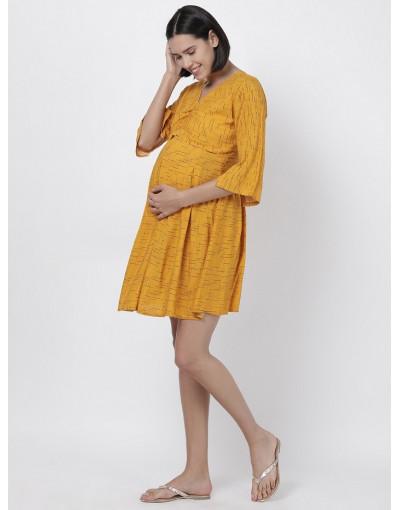 Women Printed Maternity/Feeding Dress Yellow