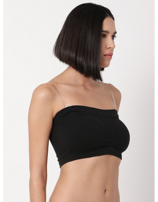 Padded Tube Top with Detachable Transparent Straps