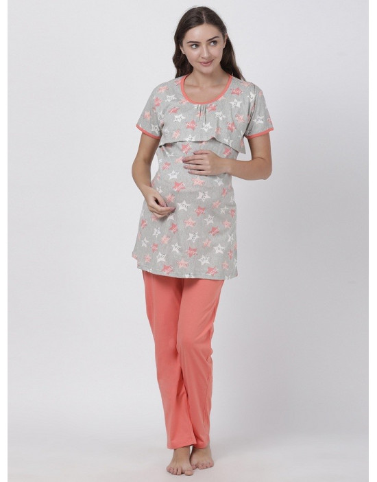 Womens Round Neck Feeding/Maternity/Nursing Night Suit