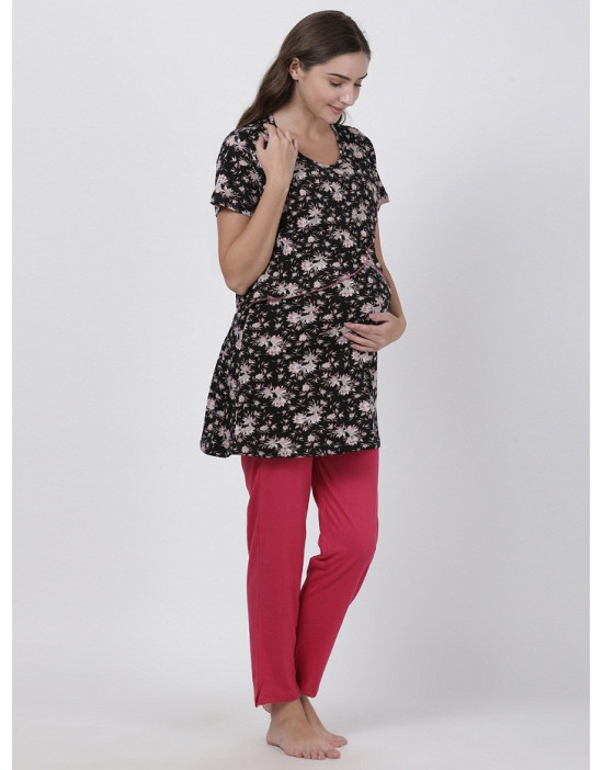 Womens Round Neck Feeding/Maternity/Nursing Night Suit