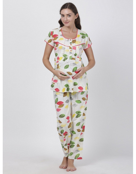 Minelli Womens Round Neck Feeding/Maternity/Nursing Night Suit