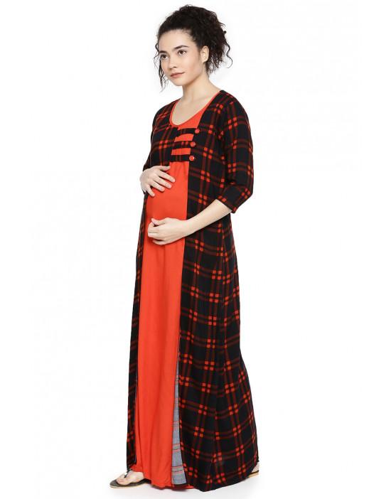 GOLDSTROMS Womens Maternity Long Nightdress with Feeding Zip