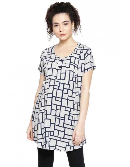 GOLDSTROMS Womens Printed Maternity Tunic with Feeding Concealed Zip