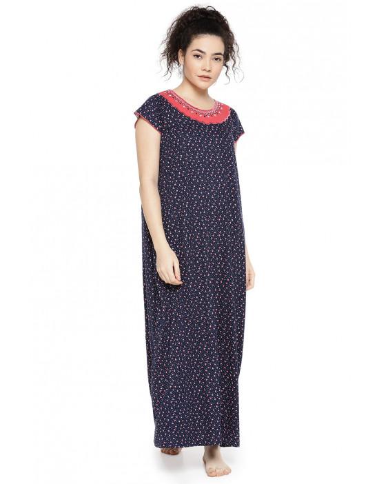 GOLDSTROMS Womens red & Navy Printed Nightdress