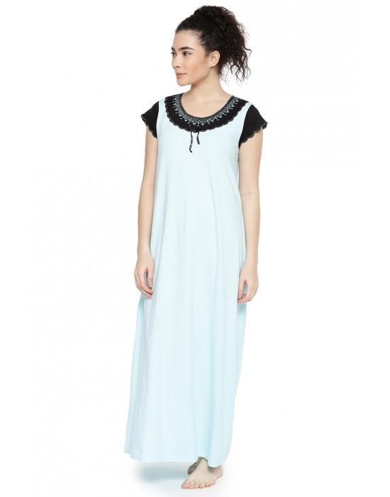 GOLDSTROMS Womens Blue & Black Solid Nightdress