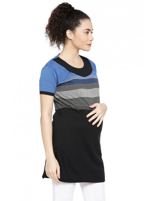 GOLDSTROMS Womens Maternity Stripe Long Tee with Concealed Zip for Feeding