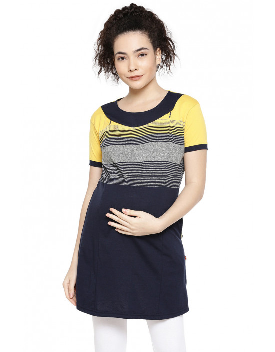 Maternity Wear: Minelli Stripe Long Tee For Feeding