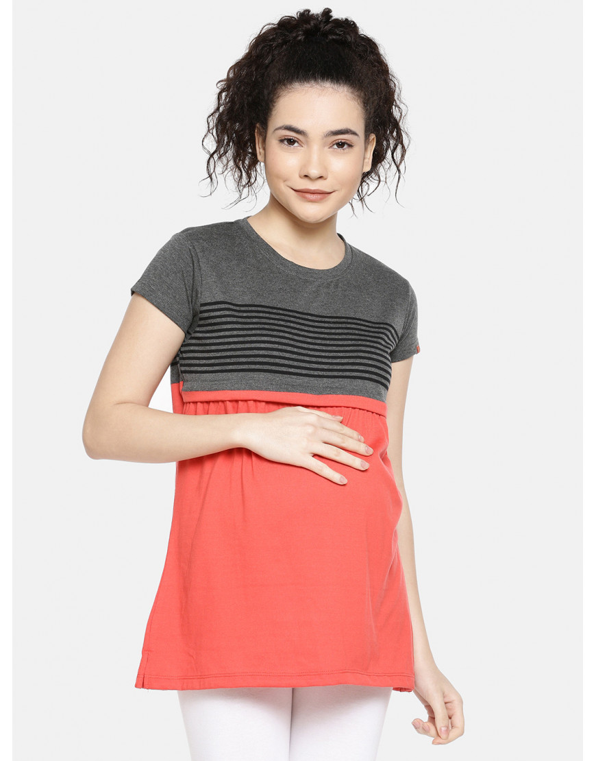 GOLDSTROMS Womens Maternity Stripe Tee with Concealed Zip for Feeding