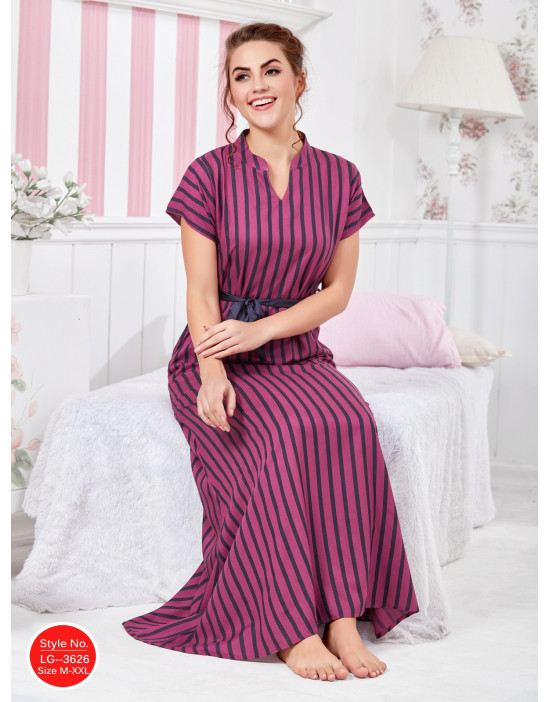 Minelli Womens Chinese Collar Rayon Fabric Flared Night Gown