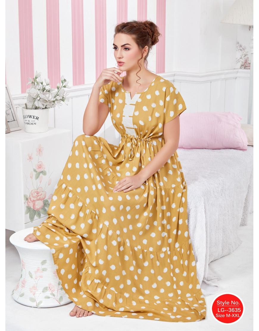 Minelli Womens U-Neck Rayon Fabric Flared Night Gown