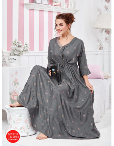 Minelli Womens Embroidery Neck Rayon Fabric Flared Night Gown