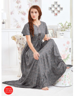 Minelli Womens Round Neck Rayon Fabric Flared Night Gown