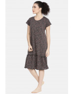Womens Round Neck Knee Length Night Gown