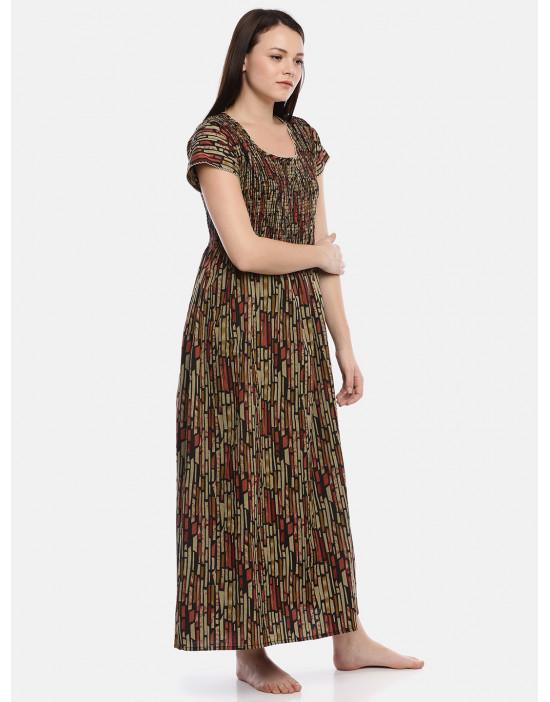 GOLDSTROMS Womens Round Neck Brown Printed Nightdress