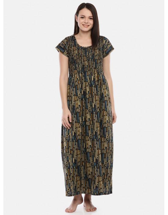 GOLDSTROMS Womens Round Neck Blue Printed Nightdress