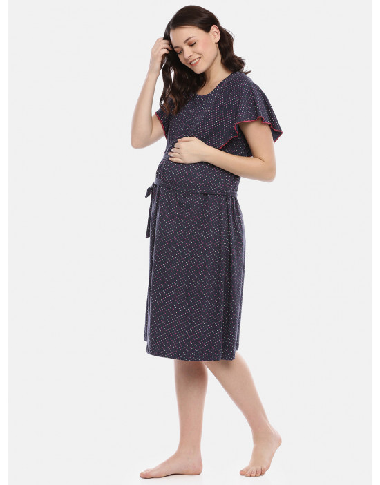 GOLDSTROMS Womens Navy Blue Printed Maternity Nightdress