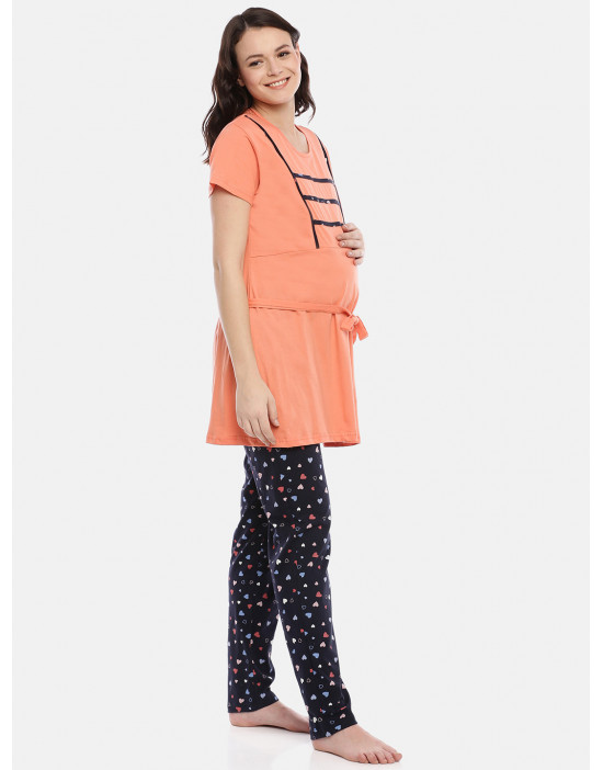 GOLDSTROMS Womens Printed Maternity Nightsuit -Top and Bottom Set