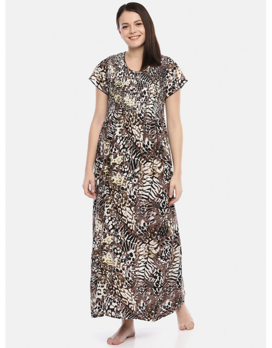 GOLDSTROMS Womens Round Neck Brown Printed Nightdress