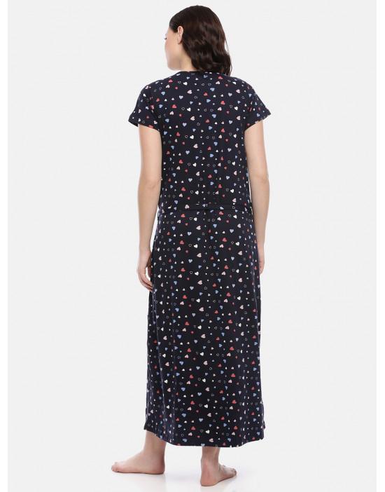 GOLDSTROMS Womens Navy Blue Printed Maternity Nightdress