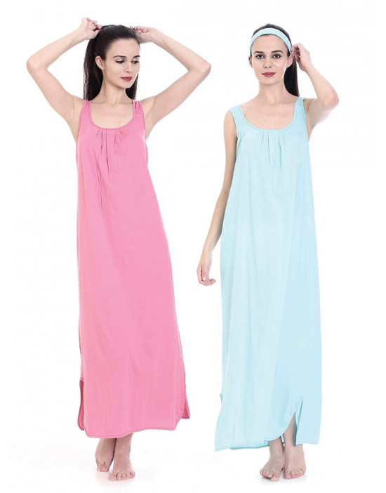 GOLDSTROMS Womens Long Nightdress Long Slip Pack of 2 - Fuchsia & Aqua