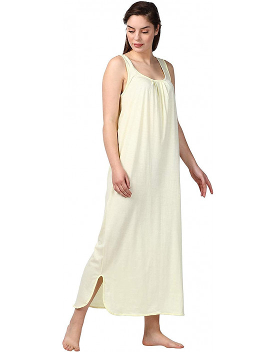 GOLDSTROMS Womens Long Nightdress Long Slip Pack of 2 - Lemon & Pink