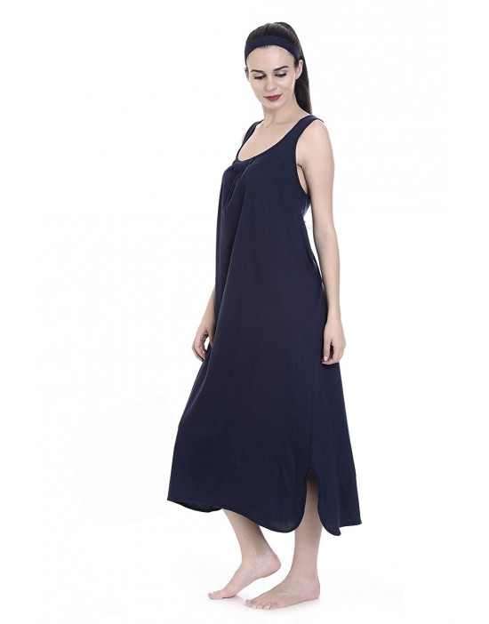 GOLDSTROMS Womens Long Nightdress Long Slip Pack of 2 - Navy & Aqua