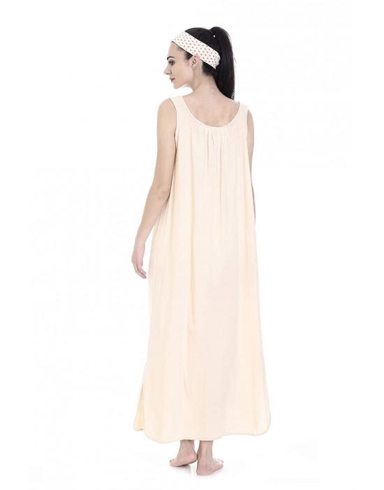 GOLDSTROMS Womens Long Nightdress Long Slip Pack of 2 - Maroon & Skin
