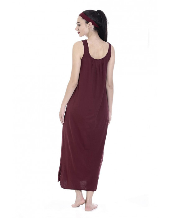 GOLDSTROMS Womens Long Nightdress Long Slip Pack of 2 - Maroon & Skin