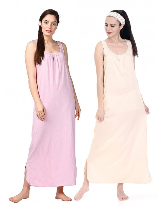 GOLDSTROMS Womens Long Nightdress Long Slip Pack of 2 - Pink & Skin
