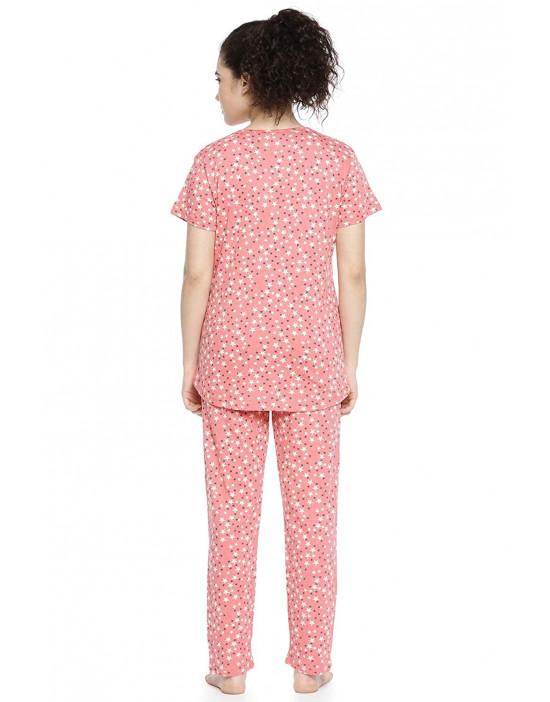 GOLDSTROMS Womens Round Neck Top & Pyjama Night Suit
