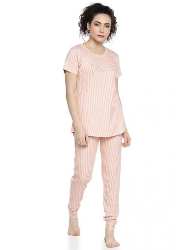 GOLDSTROMS Womens Round Neck Top & Pyjama Night Suit