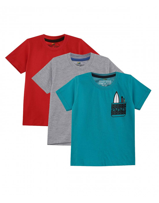 GOLDSTROMS Kids Round Neck Cotton Logo T-Shirt for Boys - Pack of 3 (B, 5-6 Years)