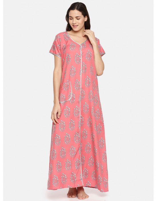 GOLDSTROMS Womens Peach Printed Maternity Nightdress