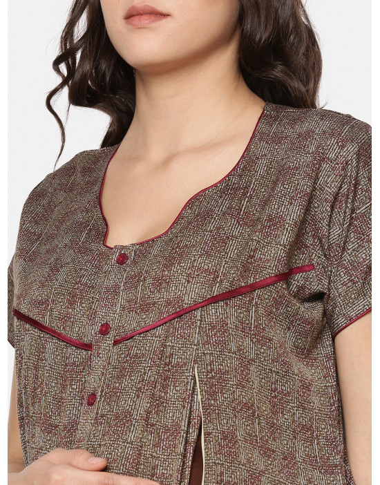 GOLDSTROMS Womens Brown Printed Maternity Nightdress